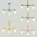 Cylinder Child Bedroom Chandelier Glass 3 Lights Simple Style Pendant Light with Macaron Color