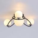Frosted Glass Globe Semi Flush Ceiling Light Study Room 4 Lights Modern Ceiling Lamp in Black/White
