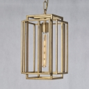 Kitchen Stair Rectangle Cage Pendant Light Metal 1 Light Industrial Ceiling Light