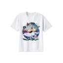 Cute Comic Totoro Figure Wolf Printed White Round Neck Short Sleeve Tee