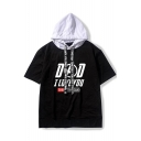 New Trendy Short Sleeve Letter I LOVE YOU 3000 TIMES Printed Hooded Casual Unisex T-Shirt