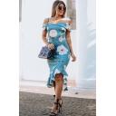 Women's Sexy Off Shoulder Floral Print Ruffle Midi Asymmetric Dress