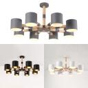 Living Room Cylinder Pendant Light Metal 8 Lights Modern Macaron Black/White/Gray Chandelier