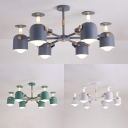 Creative Wine Glass Chandelier 6 Lights Metal Ceiling Light in Macaron White/Gray/Green for Shop