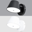 Simple Style Black/White Wall Light Tapered Rotatable Metal Sconce Light in Warm for Hallway