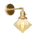 1/2 Pack Hallway Bedroom Wall Light Amber Glass Metal 1 Light Industrial Wall Sconce in Brass
