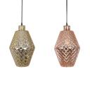 Nordic Style Copper/Gold Hanging Lamp 1 Light Lattice Glass Pendant Light for Restaurant