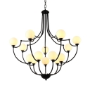 Globe Shade Villa Hotel Chandelier Frosted Glass Metal 14 Lights Traditional Hanging Light in Black