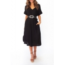 New Fashion Simple Plain V-Neck Short Sleeve Belt Split Detail T-Shirt Dress