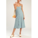 Women's Style Bow Backless Spaghetti Strap Sleeveless Plain Button-Front Midi Cami Denim Dress