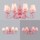 Pink Flower/Lace/Plaid Chandelier with Tapered Shade 8 Lights Metal Hanging Lamp for Living Room