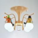 Metal Colorful Animal Semi Ceiling Mount Light Kindergarten Bedroom 4 Heads Lovely Ceiling Lamp