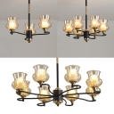 Study Room Gourd Shade Chandelier Glass 3/6/8 Lights Traditional Style Black Ceiling Light