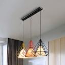 Wire Frame Diamond Suspension Light 3 Lights Creative Fabric Pendant Light for Kitchen Bar