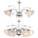Traditional Flower Shade Chandelier with Crystal Bead 3/5 Lights Metal Pendant Light in Chrome for Bedroom