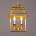 Rustic Style Gold Hanging Light Candle Shape 4 Lights Metal Chandelier with House Cage for Bar