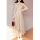 New Trendy Lapel Collared Long Sleeve Polka Dot Printed Maxi Shirt Beige Dress For Girls