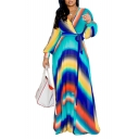 Women V-Neck Long Sleeve Tie-dye Printed Bow-Tied Waist Maxi A-Line Chiffon Dress