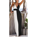 Women's Hot Fashion V-Neck Sleeveless Colorblock Printed Maxi Slip Dress