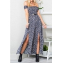 Women's Hot Fashion Off The Shoulder Short Sleeve Floral Printed Belted Split Side Maxi A-Line Dress