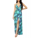 Women's Sexy V-Neck Sleeveless Tribal Leaf Printed Split Side Cutout Detail Backless Maxi Slip Light Blue Dress