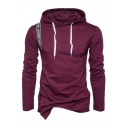 Guys Fashion Letter Patched Asymmetric Hem Fitted Drawstring Hoodie