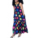 Women's Hot Fashion Round Neck Sleeveless Circle Printed Maxi Swing Navy Dress With Pockets