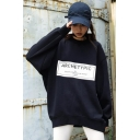 ARCHETYPIC Letter Round Neck Long Sleeve Oversized Sweatshirt