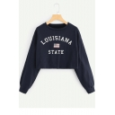 LOUISIANA STATE Letter Star Stripe Flag Printed Round Neck Long Sleeve Navy Cropped Sweatshirt