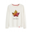 SHADE OF AUTUMN Letter Maple Leaf Printed Round Neck Long Sleeve Sweatshirt