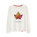 SHADE OF AUTUMN Letter Maple Leaf Printed Round Neck Long Sleeve Sweatshirt
