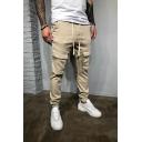 Men's New Fashion Basic Solid Color Drawstring Waist Slim Fit Cotton Cargo Pants