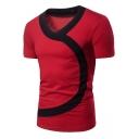Mens Fashion Unique Irregular Colorblock V-Neck Short Sleeve Slim T-Shirt