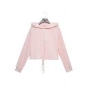 Womens Chic Pink Simple Solid Color Long Sleeve Drawstring Hem Cropped Casual Hoodie
