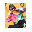Cool Colorful Letter LOVE ME Printed Basic Round Neck Long Sleeve Pullover Sweatshirt