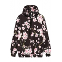 Pink Plum Blossom Floral Printed Long Sleeve Casual Loose Pullover Drawstring Hoodie