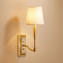 Tapered Shade Dining Room Wall Sconce Metal 1 Light Simple Style Sconce Lamp in White