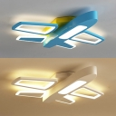 Acrylic Cartoon Airplane Ceiling Lamp Boy Bedroom Creative Blue/White LED Flush Ceiling Light in Warm/White