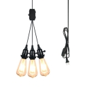 Vintage Open Bulb Pendant Light 3 Lights Glass Plug In Hanging Light in Black for Restaurant