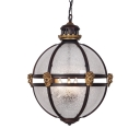 Frosted Glass Globe Hanging Lamp with Human Statue 3 Lights Colonial Style Chandelier for Bar