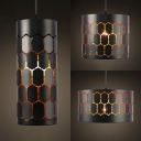 Cylinder Restaurant Pendant Light Metal 1 Light Industrial Style Suspension Light in Black