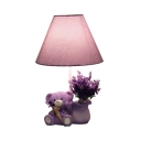 Lovely Lavender Bear Reading Lamp 1 Light Fabric Desk Light in Purple for Girl Birthday Gift
