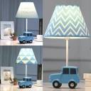 Lovely Blue LED Desk Light Toy Car 1 Light Fabric Eye-Caring Reading Light for Study Room