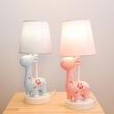 1 Light Flower Giraffe Desk Lamp Cute Resin Eye-Caring LED Reading Light in Blue/Pink for Kid Bedroom