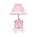Cartoon Castle LED Desk Light with Plug In Cord 1 Light Fabric Study Light in Pink for Girl Bedroom