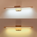 Tube Dressing Room Wall Light Wood 23.5 Inch Waterproof Modern LED Vanity Light in Warm/White
