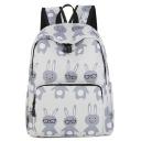 Cute Cartoon Rabbit Pattern White Waterproof Nylon School Bag Backpack 33*12*40 CM