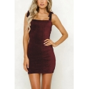Womens Hot Fashion Solid Color Bow-Tied Straps Open Back Silk Mini Bodycon Cami Dress