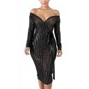 Womens Chic Surplice V-Neck Long Sleeve Tied Waist Splited Back Midi Bodycon Night Club Mesh Dress