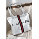 Stylish Colorblock Stripe Splicing Letter Printed Shoulder Tote Bag 32*13*32 CM